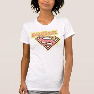 Rosa del logotipo del Grunge de Supergirl Camisetas