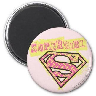 Rosa del logotipo del Grunge de Supergirl Imán Redondo 5 Cm