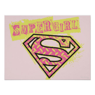 Rosa del logotipo del Grunge de Supergirl Póster