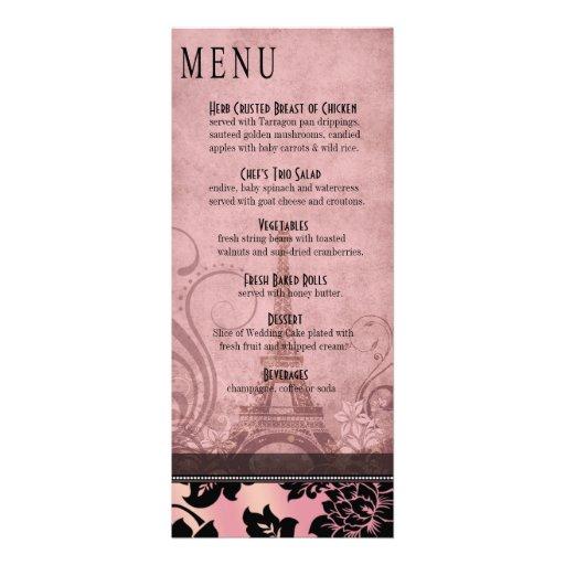 Rosa del menú el | de la cena de la torre Eiffel d Invitaciones Personalizada
