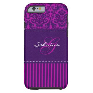Rosa del monograma, caja púrpura del iPhone 6 de Funda Para iPhone 6 Tough