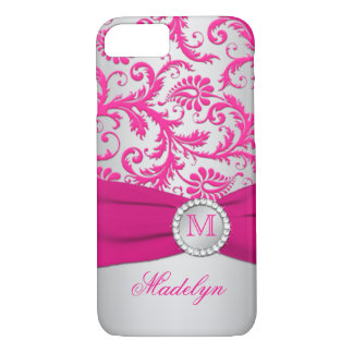 Rosa del monograma, caso de plata del iPhone 7 del Funda iPhone 7