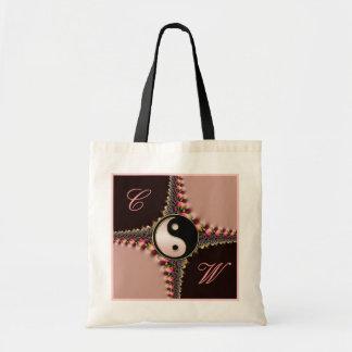 Rosa del monograma de Yin Yang+Bolso negro del cor Bolsa De Mano