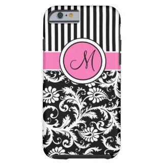 Rosa del monograma, negro, ambiente rayado blanco funda de iPhone 6 tough