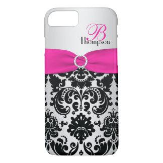 Rosa del monograma, negro, caso de plata del funda iPhone 7