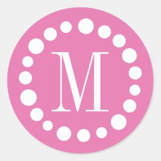 Rosa del monograma pegatina redonda