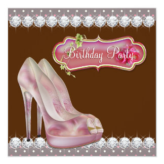 Rosa del zapato del tacón alto y fiesta de invitación 13,3 cm x 13,3cm