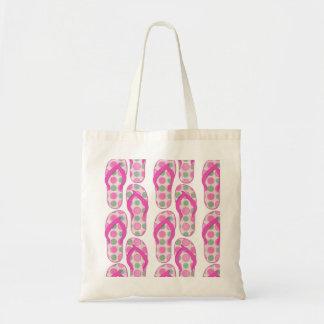 Rosa * diseño punteado polca verde del flip-flop bolsas de mano