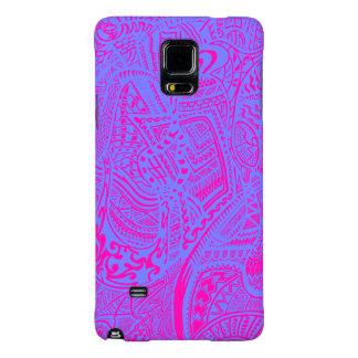 Rosa/Doodle loco tribal abstracto a mano azul Funda Galaxy Note 4