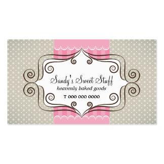 Rosa dulce y lunares tarjetas de visita