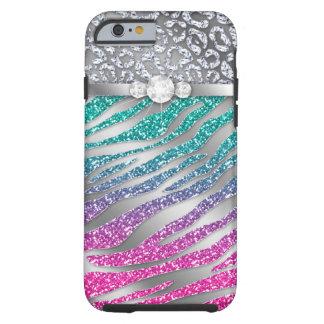 Rosa duro del brillo de la joyería del iPhone 6 de Funda De iPhone 6 Tough
