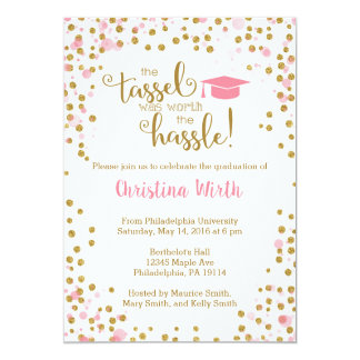 Rosa e invitación de la graduación del oro