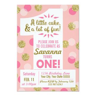 Rosa e invitación del cumpleaños del confeti del
