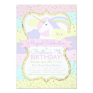 Rosa e invitación del cumpleaños del unicornio del