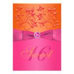 Rosa e invitación floral anaranjada del dulce diec