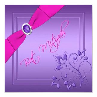 Rosa e invitación floral púrpura de Mitzvah del