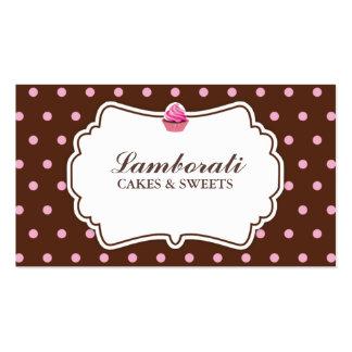 Rosa elegante de la panadería de la magdalena en tarjetas de visita