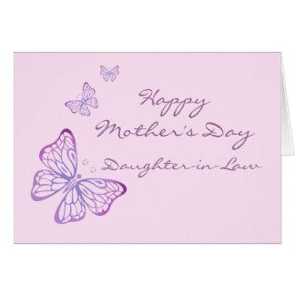 Rosa elegante de las mariposas del jardín del día tarjeta de felicitación