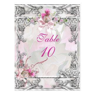 Rosa elegante del boda de la tarjeta del número de postal
