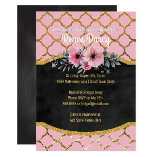 Rosa elegante del oro de la ducha del modelo invitación 12,7 x 17,8 cm
