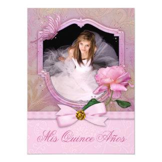 Rosa elegante Quinceanera subió mariposa de la Invitación 13,9 X 19,0 Cm