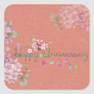 Rosa feliz del aniversario floral pegatina cuadrada