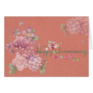 Rosa feliz del aniversario floral tarjeta de felicitación