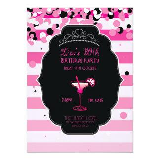 Rosa - femenino - adulto - fiesta de cumpleaños - invitación 13,9 x 19,0 cm