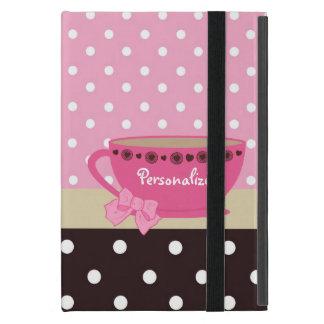 Rosa femenino de la taza de té y arco y nombre del iPad mini fundas