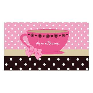 Rosa femenino de la tienda del té y taza de té de tarjetas de visita