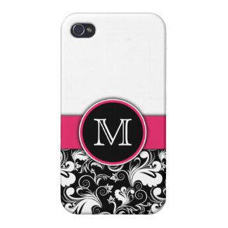 Rosa floral elegante del damasco de las iniciales  iPhone 4 protectores