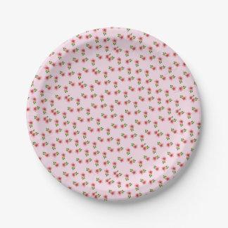 Rosa floral plato de papel