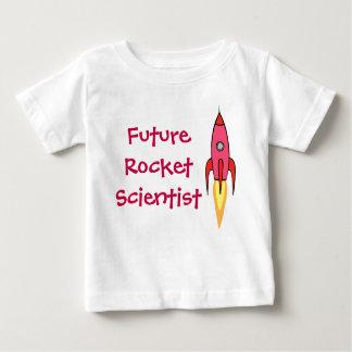 Rosa futuro Rocketship del científico de Rocket Camiseta De Bebé