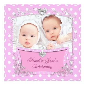 Rosa gemelo del bautismo del bautizo del bebé de invitación 13,3 cm x 13,3cm