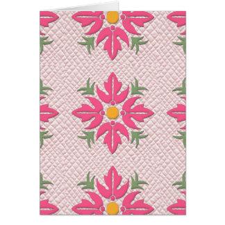 Rosa hawaiano del edredón de la flor del estilo tarjeta de felicitación