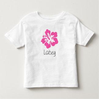 Rosa hawaiano personalizado del hibisco de la flor camiseta