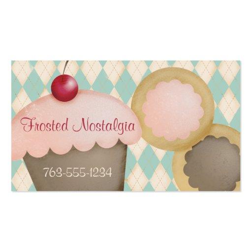 Rosa helado del argyle de la hornada de la tarjetas de visita