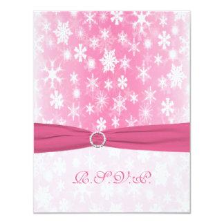 Rosa IMPRESO de la CINTA, tarjeta de contestación Invitación 10,8 X 13,9 Cm