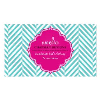Rosa intrépido lindo de la turquesa del modelo de plantilla de tarjeta de negocio