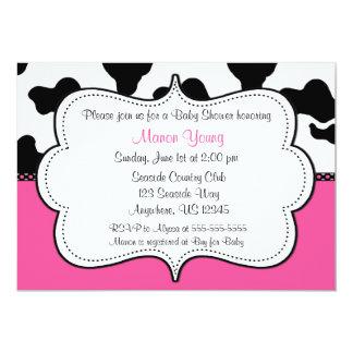 Rosa Invitaiton de la impresión de la vaca Invitación 12,7 X 17,8 Cm