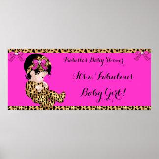 Rosa lindo 2 del leopardo del chica del bebé póster