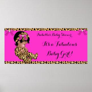 Rosa lindo del leopardo del chica del bebé póster