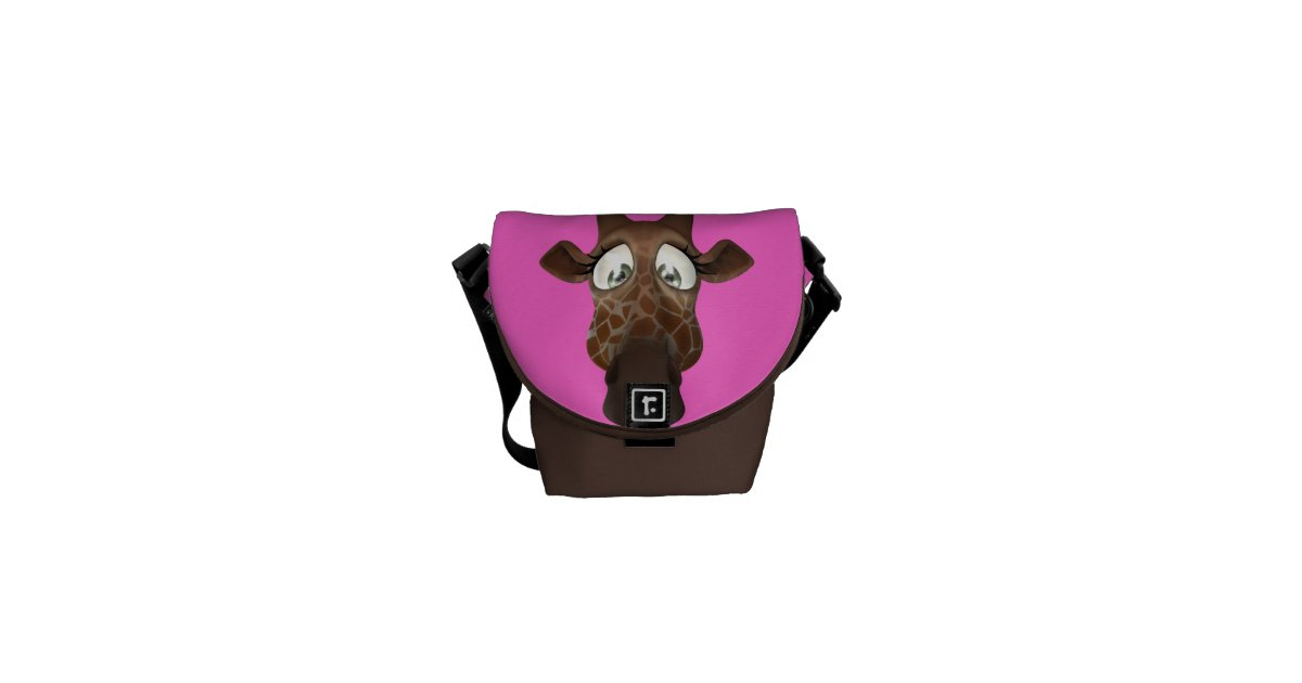 rosa lindo y brown de la jirafa del dibujo animado bolsas messenger zazzle