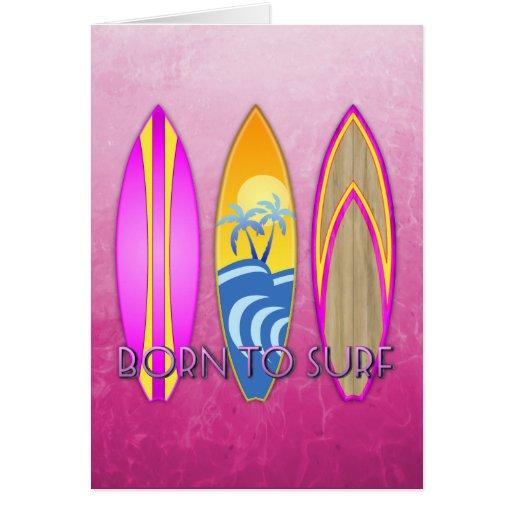 Rosa llevado para practicar surf tarjeton