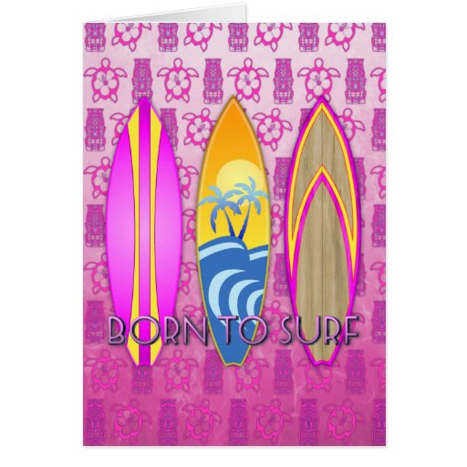 Rosa llevado para practicar surf tarjeta