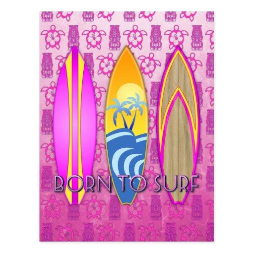 Rosa llevado para practicar surf postales