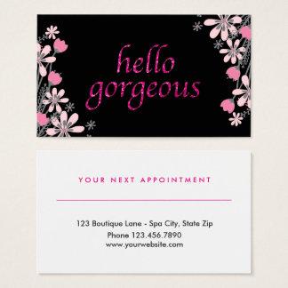 Rosa magnífico floral de la cita del salón de tarjeta de negocios