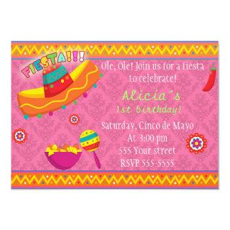 Rosa mexicano de la fiesta de cumpleaños del chica invitación 12,7 x 17,8 cm