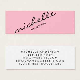 Rosa minimalista con el texto cursivo tarjeta de visita pequeña