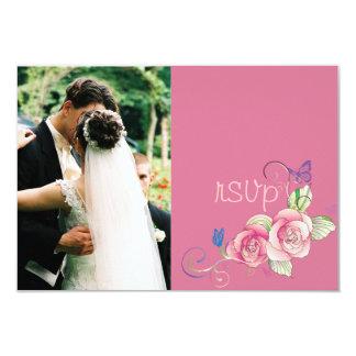 rosa minniemay de la tarjeta del rsvp subió + invitación 8,9 x 12,7 cm